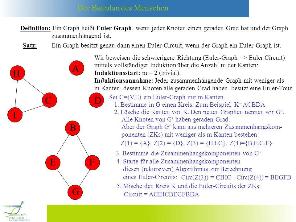 Der Bauplan des Menschen Definition: Ein Graph heißt Euler-Graph, wenn jeder Knoten einen geraden Grad hat und der Graph zusammenhängend ist. Satz: Ei
