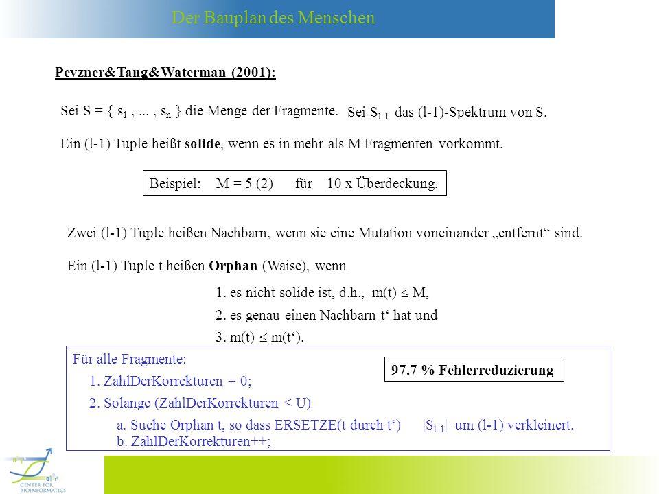 Der Bauplan des Menschen Pevzner&Tang&Waterman (2001): Sei S = { s 1,..., s n } die Menge der Fragmente. Sei S l-1 das (l-1)-Spektrum von S. Ein (l-1)