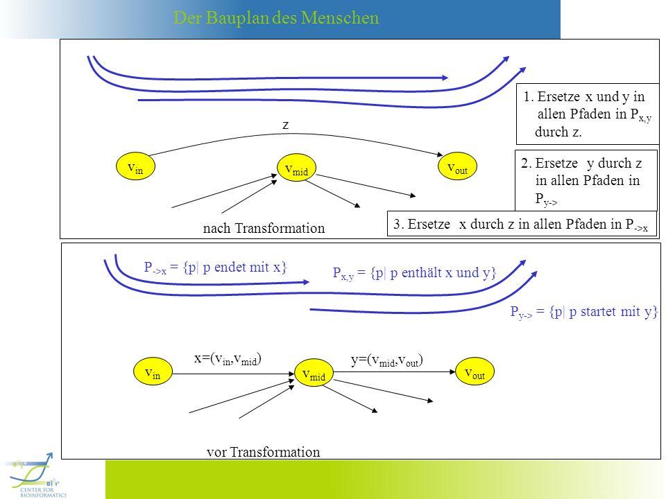 Der Bauplan des Menschen P ->x = {p| p endet mit x} Beispiel mit mutiplen Kanten: vor Transformation v in x=(v in,v mid ) v mid v out1 y 1 =(v mid,v out1 ) v out2 y 2 =(v mid,v out2 ) P x,y = {p| p enthält x und y 1 } P y-> = {p| p startet mit y 1 } Beispiel mit multiplen Kanten: nach Transformation P ->x v in x=(v in,v mid ) v mid v out1 z v out2 y 2 =(v mid,v out2 ) P x,y = {p| p enthält x und y 1 } P y-> = {p| p startet mit y 1 } Problem: Wie enden die Pfade in P ->x ?