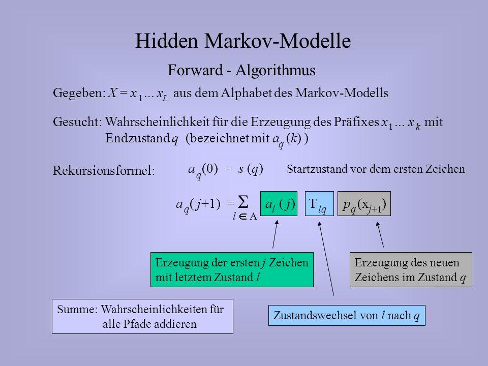 Erzeugung des neuen Zeichens im Zustand q Zustandswechsel von l nach q Erzeugung der ersten j Zeichen mit letztem Zustand l Hidden Markov-Modelle Forward - Algorithmus Gegeben: X = x...