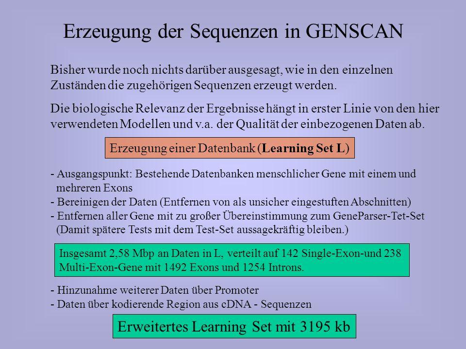 Erzeugung der Sequenzen in GENSCAN Bisher wurde noch nichts darüber ausgesagt, wie in den einzelnen Zuständen die zugehörigen Sequenzen erzeugt werden.