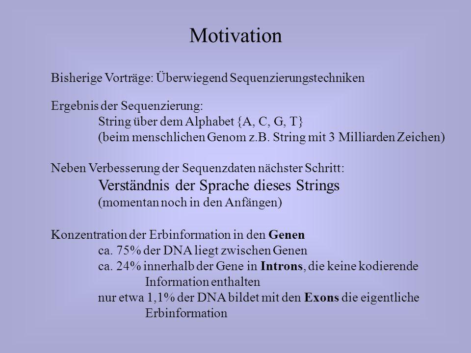 Motivation Bisherige Vorträge: Überwiegend Sequenzierungstechniken Ergebnis der Sequenzierung: String über dem Alphabet {A, C, G, T} (beim menschlichen Genom z.B.