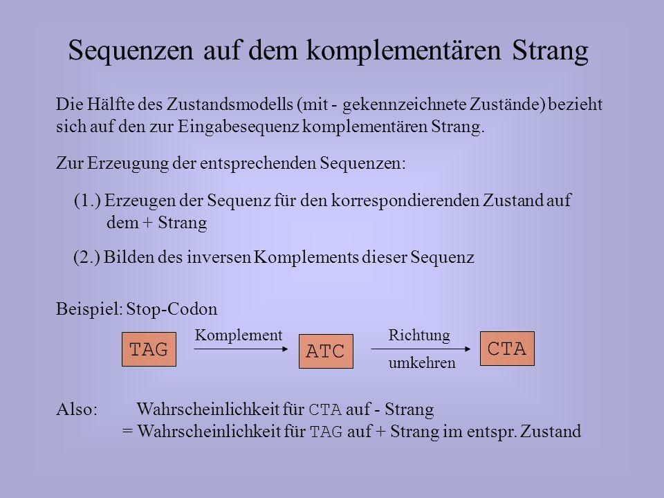 Sequenzen auf dem komplementären Strang Die Hälfte des Zustandsmodells (mit - gekennzeichnete Zustände) bezieht sich auf den zur Eingabesequenz komplementären Strang.