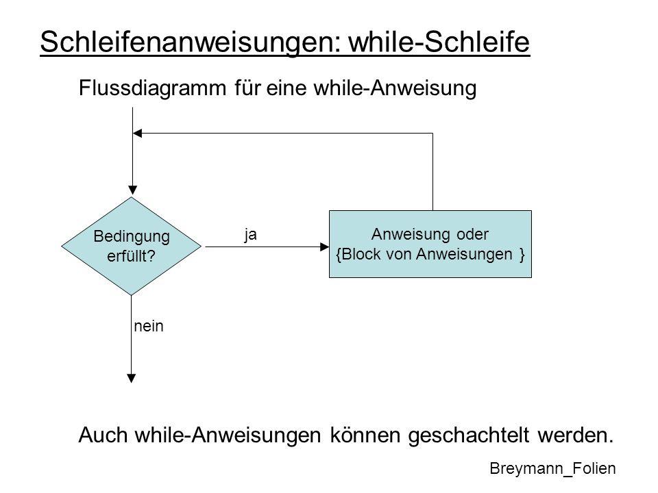 Schleifenanweisungen: while-Schleife Flussdiagramm für eine while-Anweisung Auch while-Anweisungen können geschachtelt werden. Breymann_Folien Anweisu
