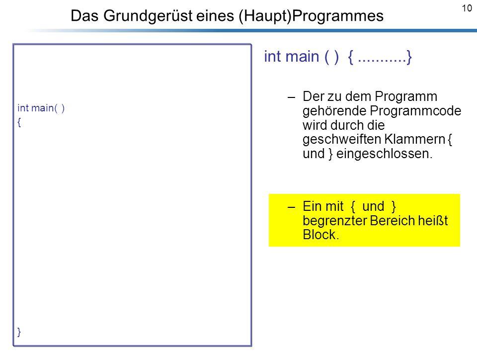 10 Das Grundgerüst eines (Haupt)Programmes /* Dieses Programm berechnet die Summe von zwei Zahlen a,b. */ #include using namespace std; int main( ) {