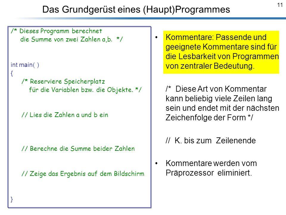 11 Das Grundgerüst eines (Haupt)Programmes /* Dieses Programm berechnet die Summe von zwei Zahlen a,b. */ #include using namespace std; int main( ) {