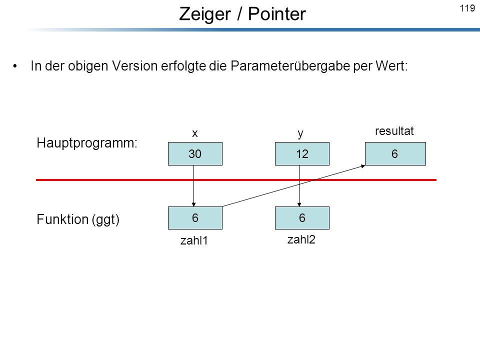 119 In der obigen Version erfolgte die Parameterübergabe per Wert: Hauptprogramm: Funktion (ggt) Breymann_Folien 30 x 12 y resultat 30 zahl1 12 zahl2