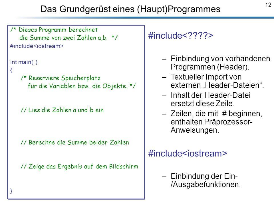 12 Das Grundgerüst eines (Haupt)Programmes /* Dieses Programm berechnet die Summe von zwei Zahlen a,b. */ #include<iostream> using namespace std; int