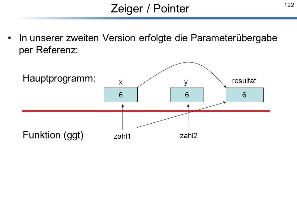 122 In unserer zweiten Version erfolgte die Parameterübergabe per Referenz: Hauptprogramm: Funktion (ggt) Breymann_Folien 30 x 12 y resultat 66 6 zahl