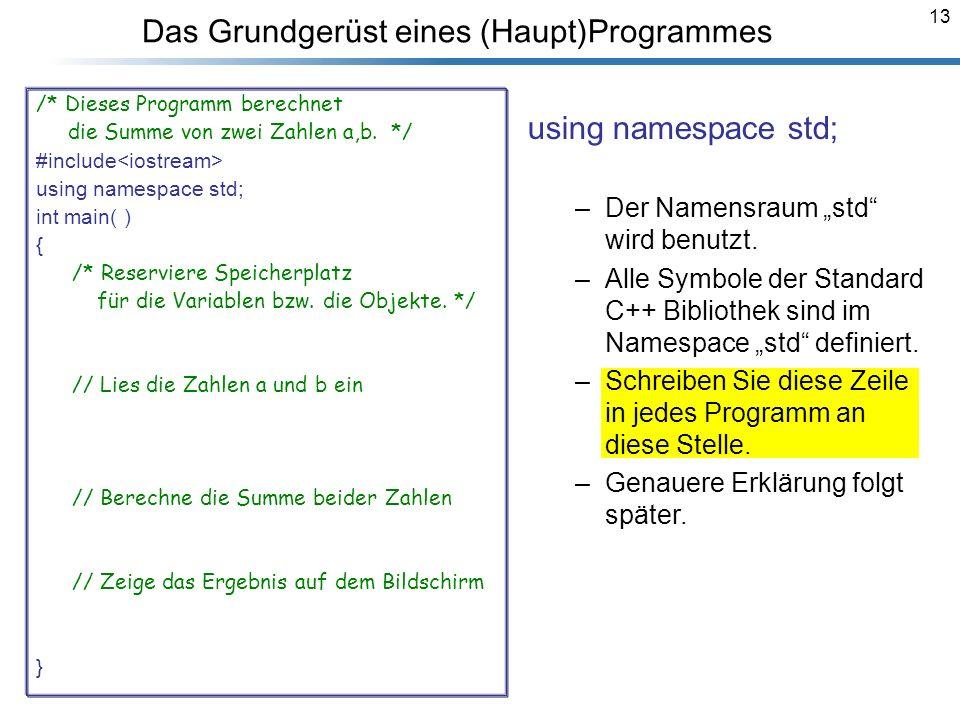 13 Das Grundgerüst eines (Haupt)Programmes /* Dieses Programm berechnet die Summe von zwei Zahlen a,b. */ #include<iostream> using namespace std; int