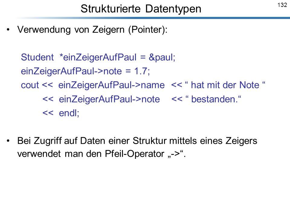 132 Verwendung von Zeigern (Pointer): Student *einZeigerAufPaul = &paul; einZeigerAufPaul->note = 1.7; cout name << hat mit der Note note << bestanden