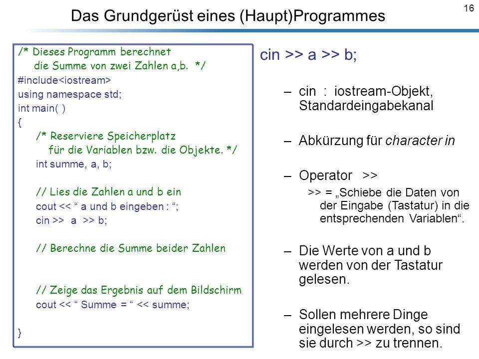 16 Das Grundgerüst eines (Haupt)Programmes /* Dieses Programm berechnet die Summe von zwei Zahlen a,b. */ #include<iostream> using namespace std; int
