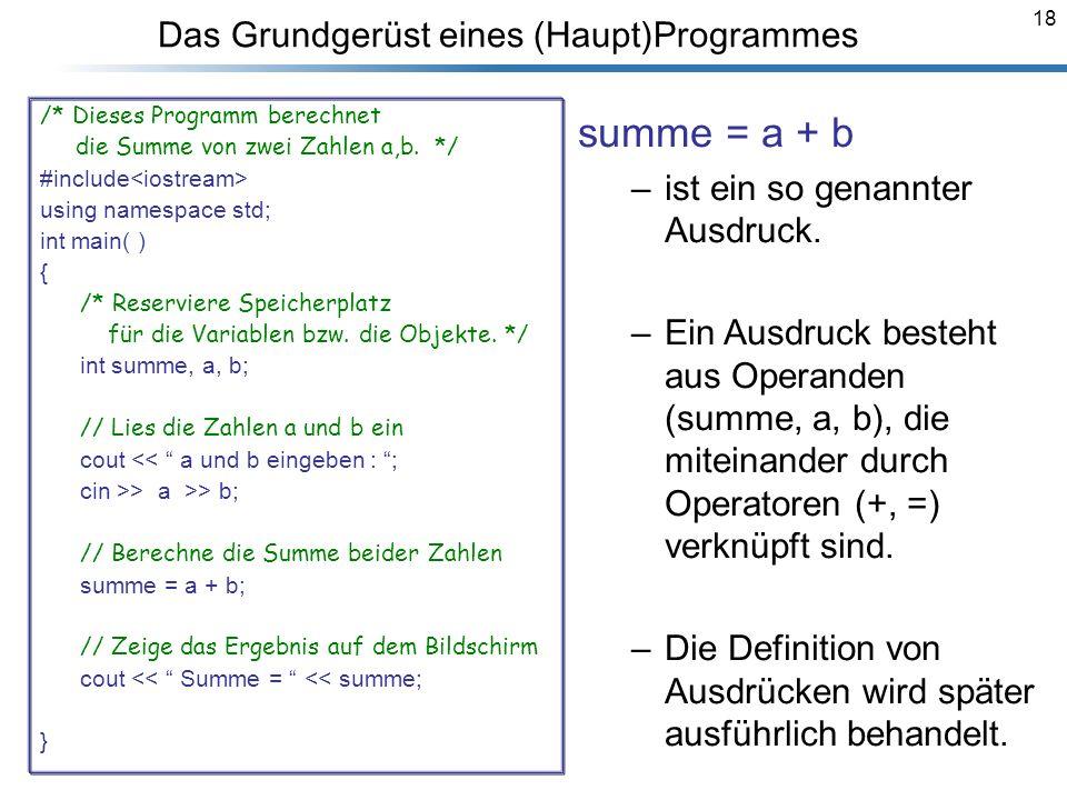 18 Das Grundgerüst eines (Haupt)Programmes /* Dieses Programm berechnet die Summe von zwei Zahlen a,b. */ #include using namespace std; int main( ) {