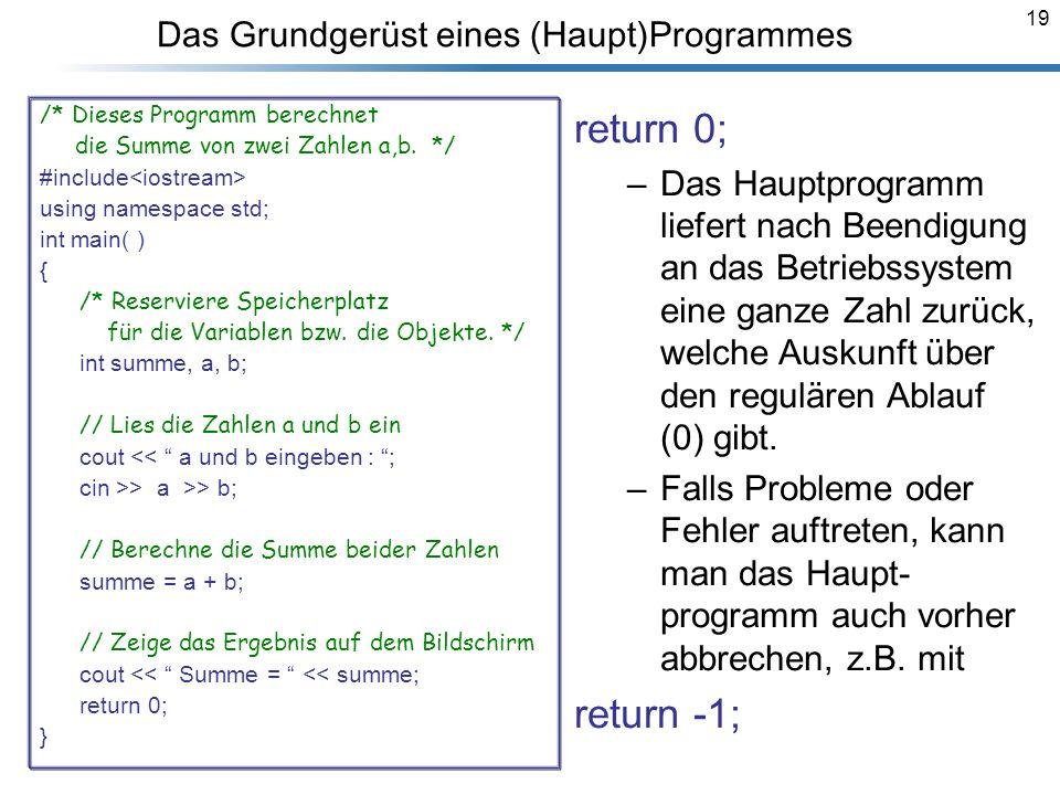 19 Das Grundgerüst eines (Haupt)Programmes /* Dieses Programm berechnet die Summe von zwei Zahlen a,b. */ #include using namespace std; int main( ) {