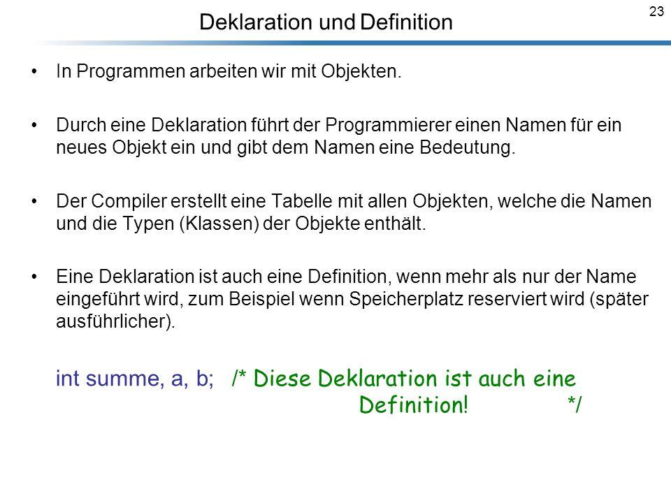 23 Deklaration und Definition Breymann_Folien In Programmen arbeiten wir mit Objekten. Durch eine Deklaration führt der Programmierer einen Namen für