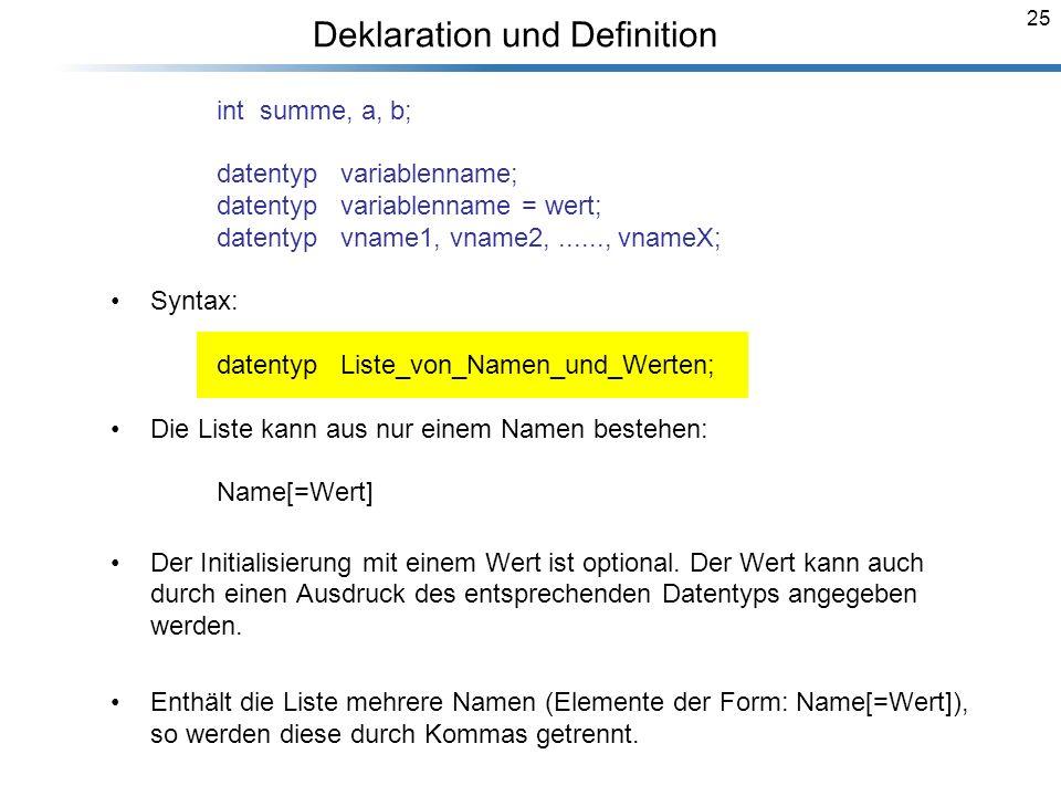 25 Deklaration und Definition Breymann_Folien int summe, a, b; datentyp variablenname; datentyp variablenname = wert; datentyp vname1, vname2,......,