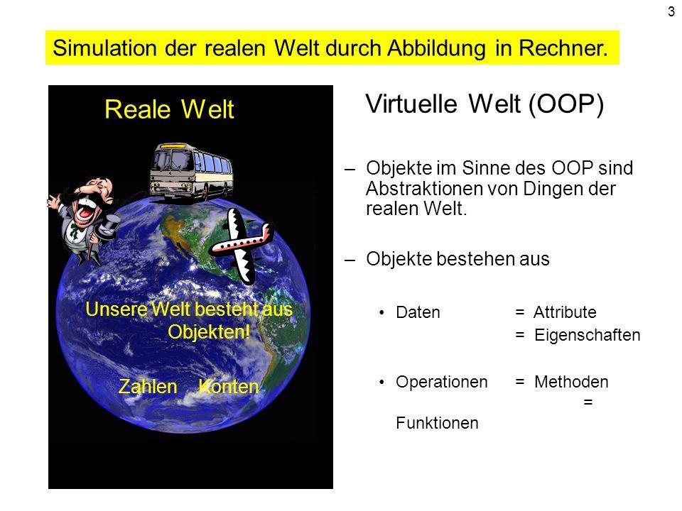 3 Reale Welt Unsere Welt besteht aus Objekten! Zahlen Konten Virtuelle Welt (OOP) –Objekte im Sinne des OOP sind Abstraktionen von Dingen der realen W
