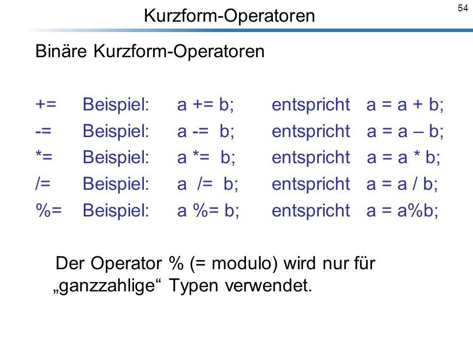 54 Binäre Kurzform-Operatoren +=Beispiel:a += b;entsprichta = a + b; -=Beispiel:a -= b;entspricht a = a – b; *=Beispiel:a *= b; entspricht a = a * b;