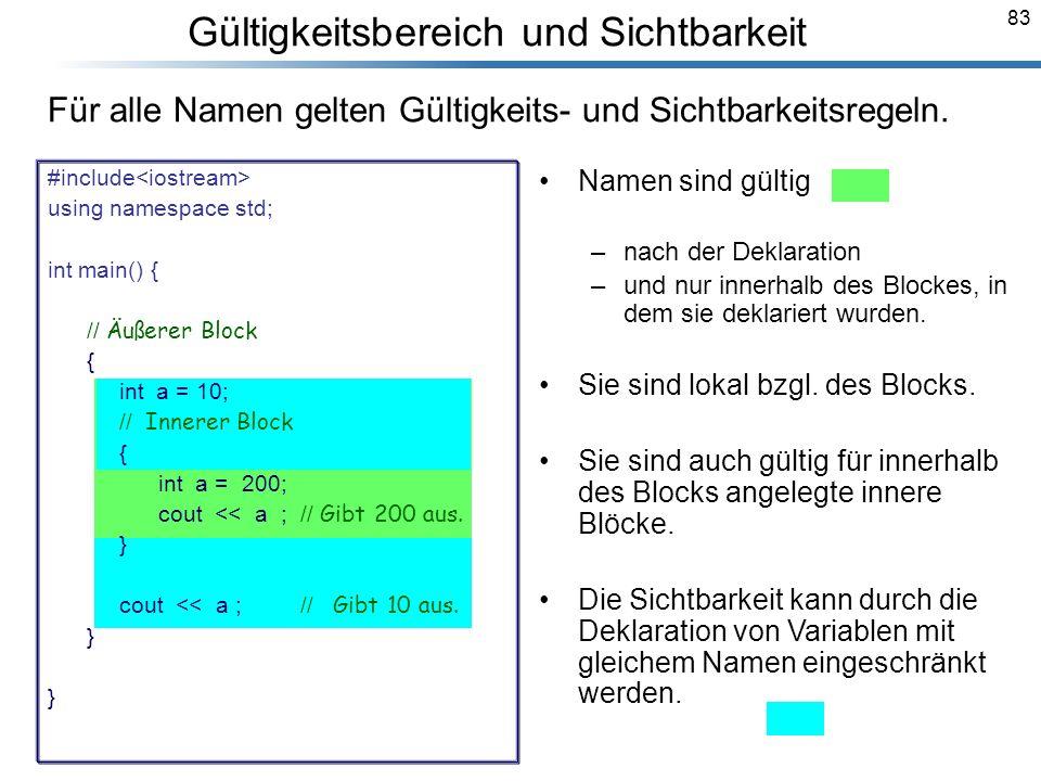83 Breymann_Folien Gültigkeitsbereich und Sichtbarkeit Namen sind gültig –nach der Deklaration –und nur innerhalb des Blockes, in dem sie deklariert w
