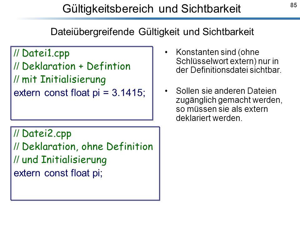 85 Breymann_Folien Gültigkeitsbereich und Sichtbarkeit Konstanten sind (ohne Schlüsselwort extern) nur in der Definitionsdatei sichtbar. Sollen sie an