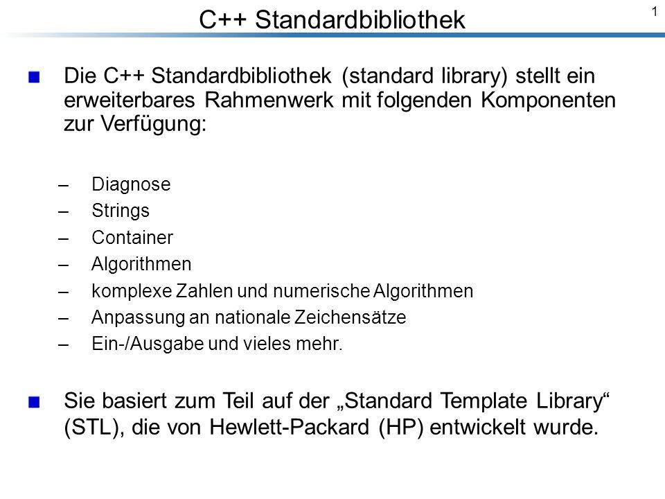 1 C++ Standardbibliothek Breymann_Folien Die C++ Standardbibliothek (standard library) stellt ein erweiterbares Rahmenwerk mit folgenden Komponenten zur Verfügung: –Diagnose –Strings –Container –Algorithmen –komplexe Zahlen und numerische Algorithmen –Anpassung an nationale Zeichensätze –Ein-/Ausgabe und vieles mehr.