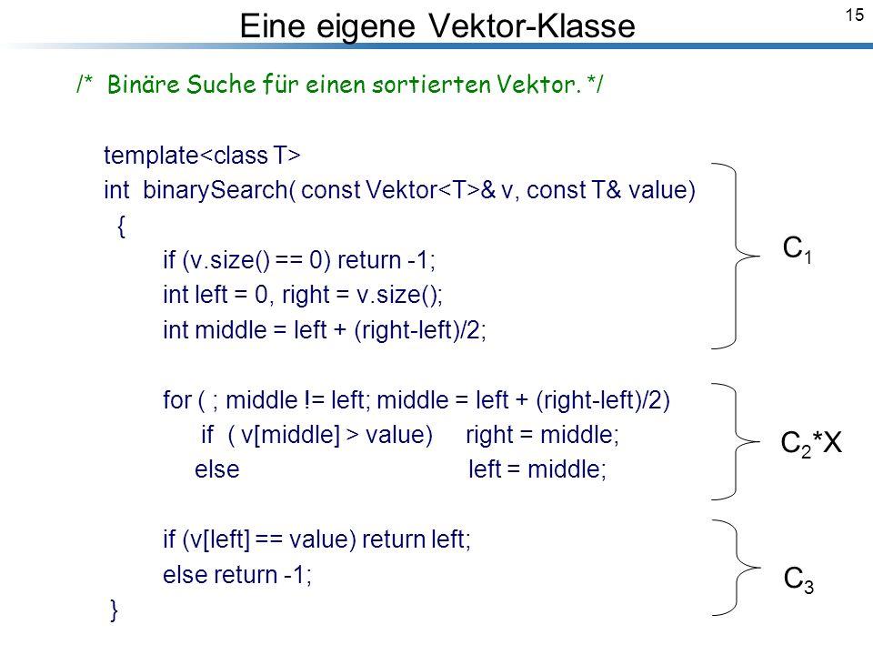 15 Breymann_Folien Eine eigene Vektor-Klasse /* Binäre Suche für einen sortierten Vektor.