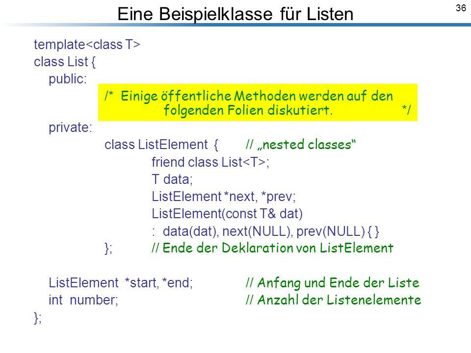 36 Eine Beispielklasse für Listen template class List { public: /* Einige öffentliche Methoden werden auf den folgenden Folien diskutiert.