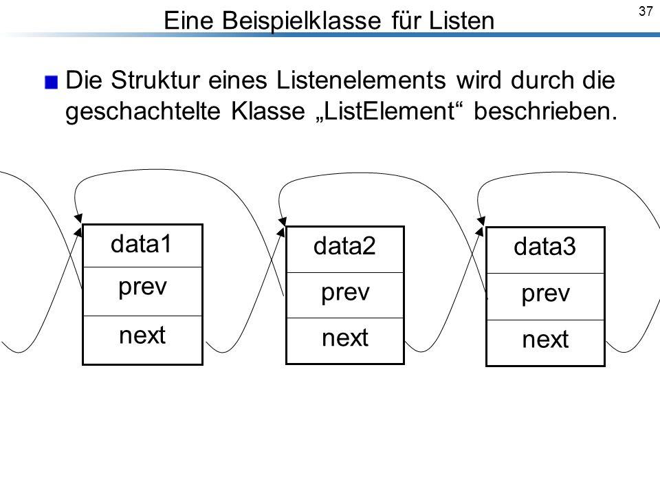 37 Eine Beispielklasse für Listen Die Struktur eines Listenelements wird durch die geschachtelte Klasse ListElement beschrieben.