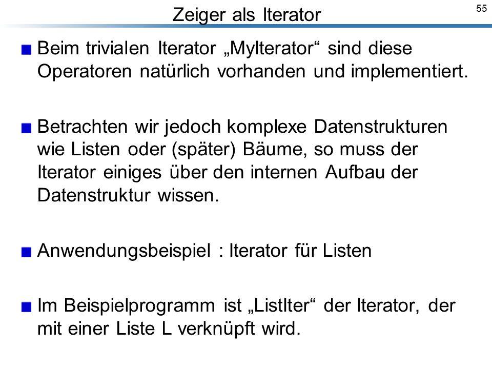 55 Zeiger als Iterator Beim trivialen Iterator MyIterator sind diese Operatoren natürlich vorhanden und implementiert.