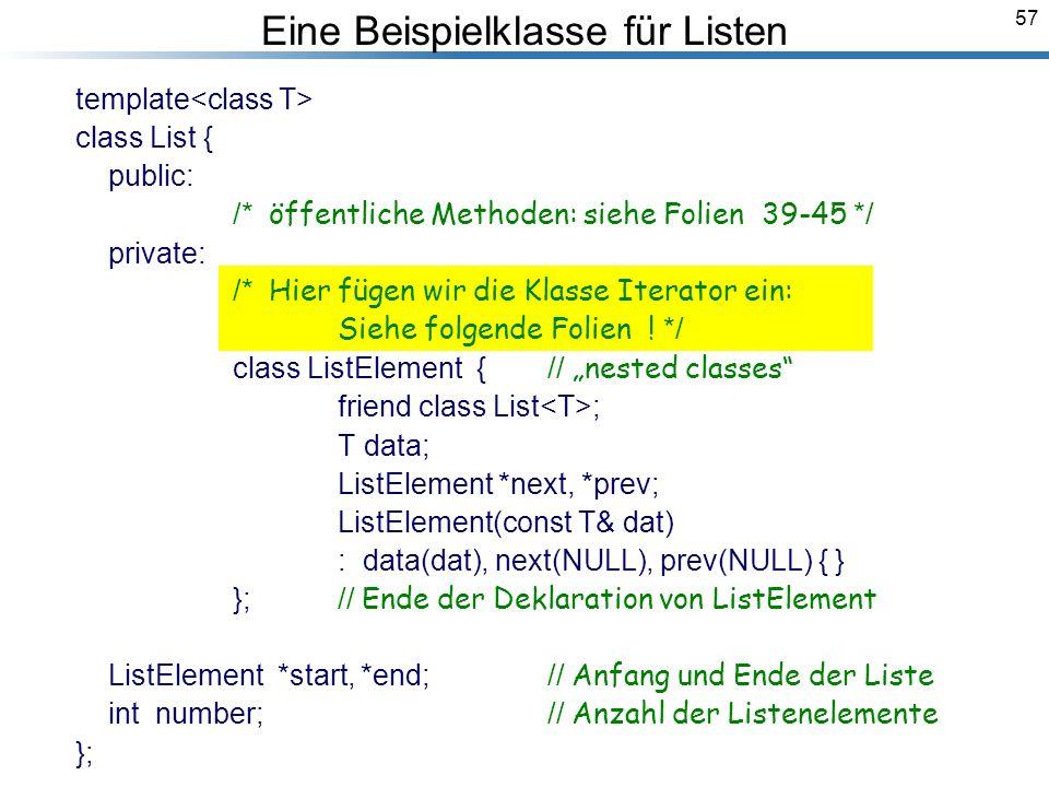 57 Eine Beispielklasse für Listen template class List { public: /* öffentliche Methoden: siehe Folien 39-45 */ private: /* Hier fügen wir die Klasse Iterator ein: Siehe folgende Folien .