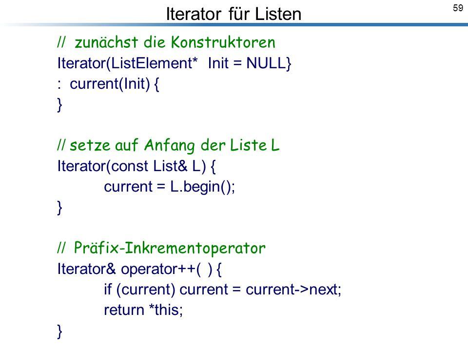 59 Iterator für Listen // zunächst die Konstruktoren Iterator(ListElement* Init = NULL} : current(Init) { } // setze auf Anfang der Liste L Iterator(const List& L) { current = L.begin(); } // Präfix-Inkrementoperator Iterator& operator++( ) { if (current) current = current->next; return *this; } Breymann_Folien