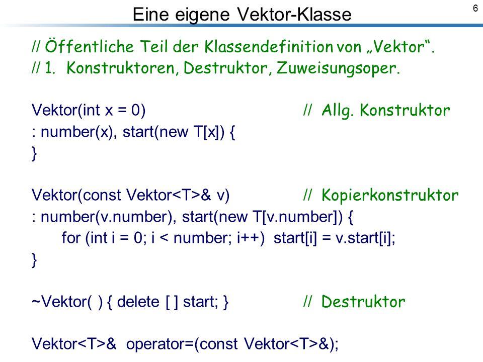 6 Eine eigene Vektor-Klasse // Öffentliche Teil der Klassendefinition von Vektor.