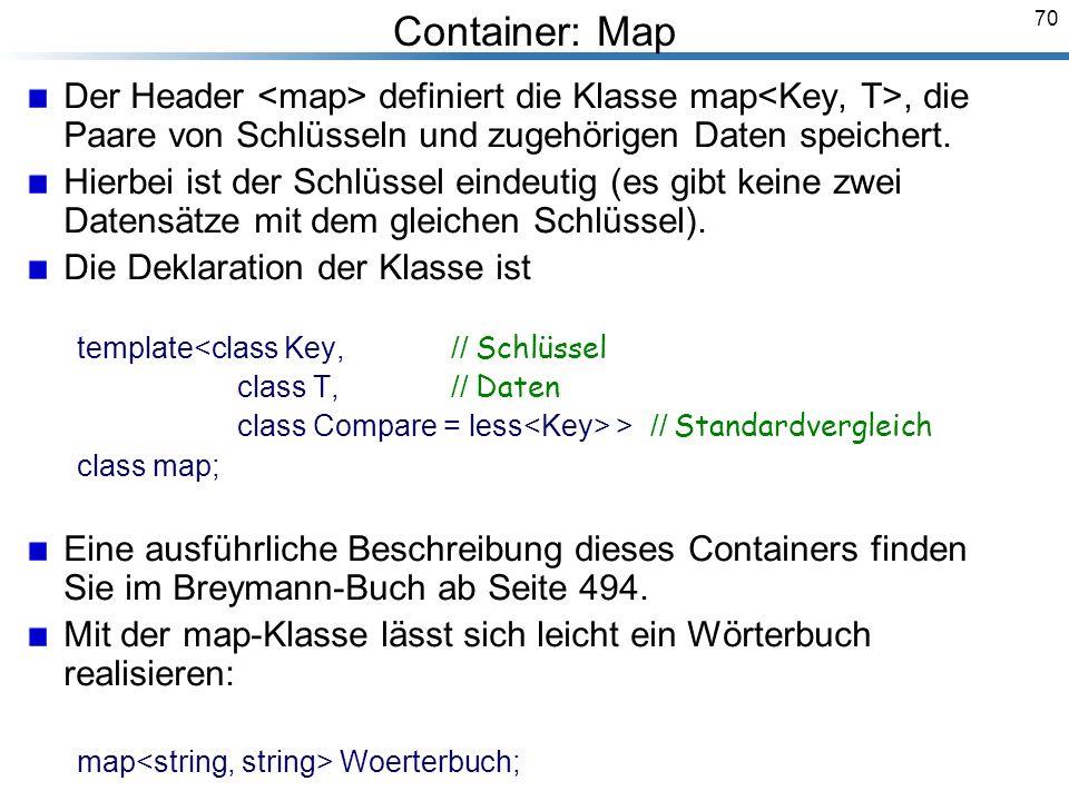 70 Container: Map Der Header definiert die Klasse map, die Paare von Schlüsseln und zugehörigen Daten speichert.