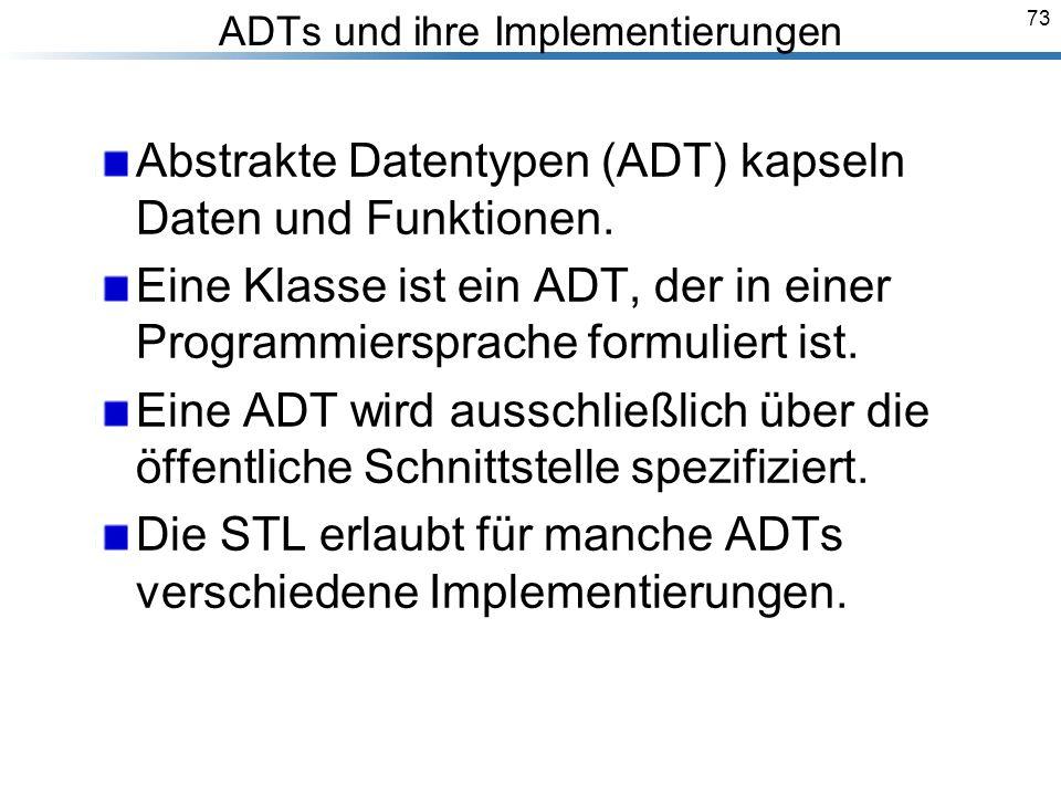 73 ADTs und ihre Implementierungen Abstrakte Datentypen (ADT) kapseln Daten und Funktionen.