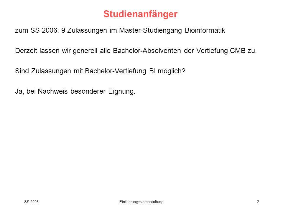 SS 2006Einführungsveranstaltung2 Studienanfänger zum SS 2006: 9 Zulassungen im Master-Studiengang Bioinformatik Derzeit lassen wir generell alle Bache