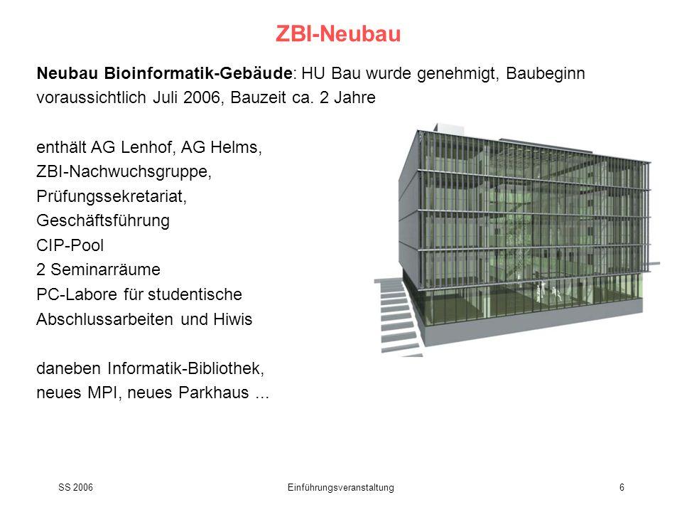 SS 2006Einführungsveranstaltung6 ZBI-Neubau Neubau Bioinformatik-Gebäude: HU Bau wurde genehmigt, Baubeginn voraussichtlich Juli 2006, Bauzeit ca. 2 J