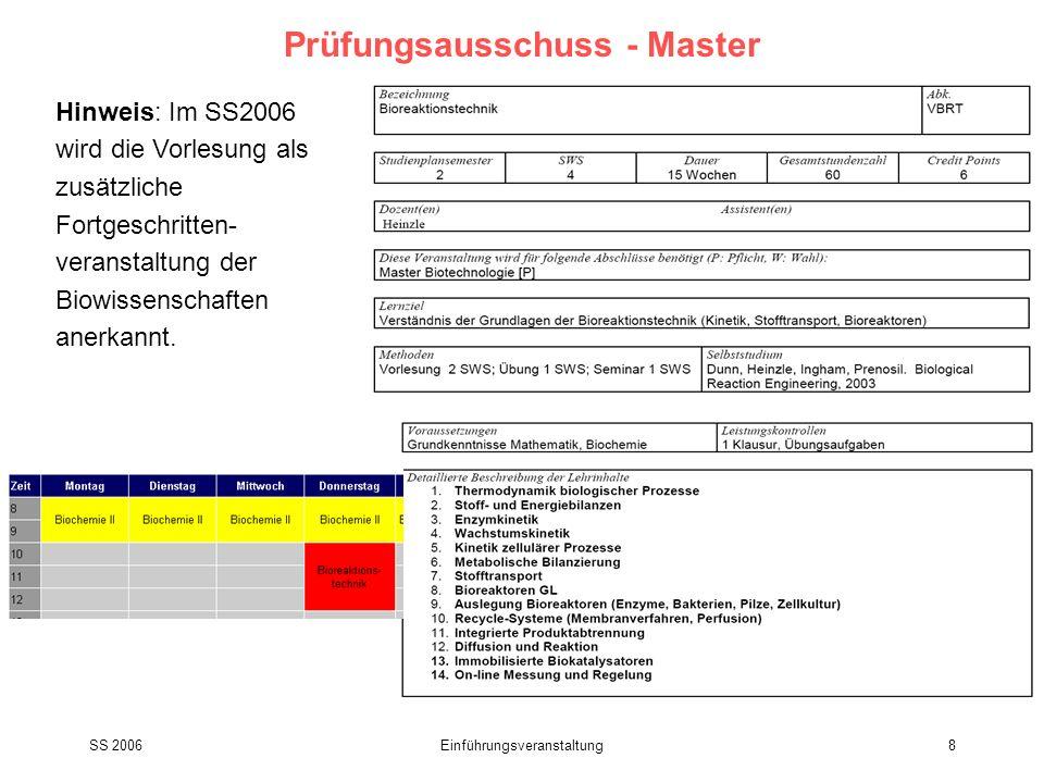 SS 2006Einführungsveranstaltung8 Prüfungsausschuss - Master Hinweis: Im SS2006 wird die Vorlesung als zusätzliche Fortgeschritten- veranstaltung der B