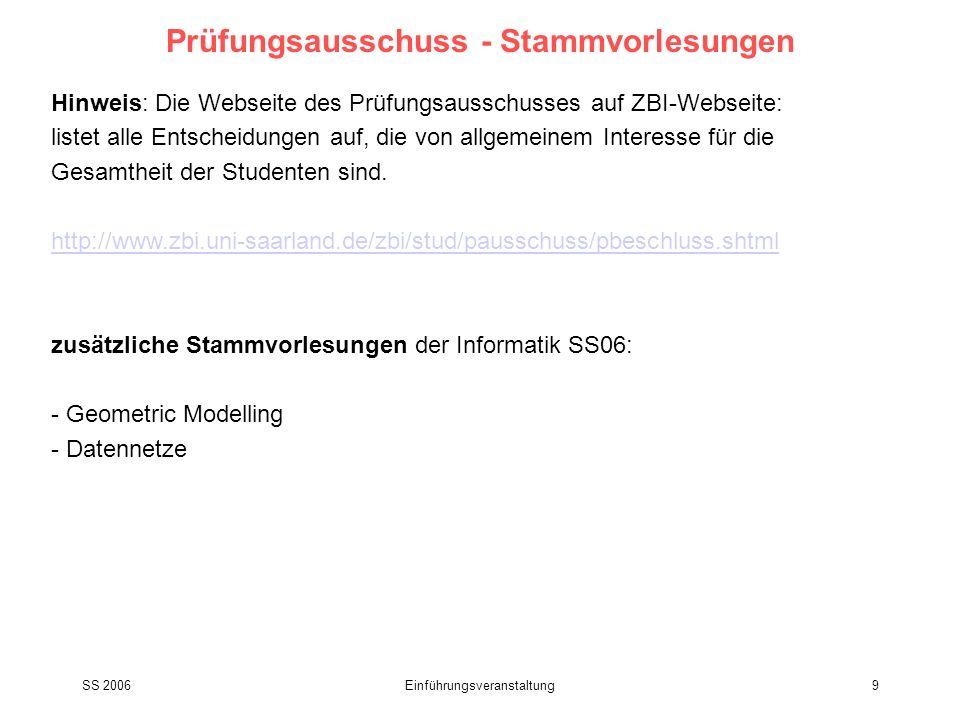 SS 2006Einführungsveranstaltung10 Geplante Lehrveranstaltungen WS06/07 als besonderer Service auf Anregung der Studenten/Fachschaft Grundvorlesungen: Pro-/Seminare: - Bioinformatik I (Lenhof) - AG Hildebrandt (Docking...) - Bioinformatik III (Helms) - AG Lenhof - Softwarewerkzeuge der Bioinformatik (Helms)- AG Helms Spezialvorlesungen: - Statistical Learning I (Lengauer) - Modern Methods in Drug Design (Hutter) - Computational Immunology (Böckmann) - Modelling Drug Transport with Bioinformatics Methods (Neumann) Schlüsselqualifikationen: - Effizientes Lernen (Hildebrandt, Helms) vorauss.
