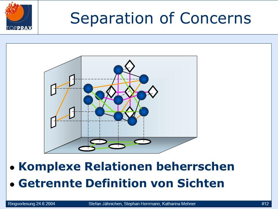 Ringvorlesung 24.6.2004Stefan Jähnichen, Stephan Herrmann, Katharina Mehner#12 Separation of Concerns Komplexe Relationen beherrschen Getrennte Defini