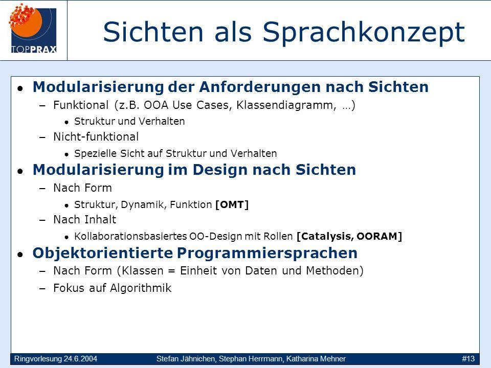 Ringvorlesung 24.6.2004Stefan Jähnichen, Stephan Herrmann, Katharina Mehner#13 Sichten als Sprachkonzept Modularisierung der Anforderungen nach Sichten –Funktional (z.B.