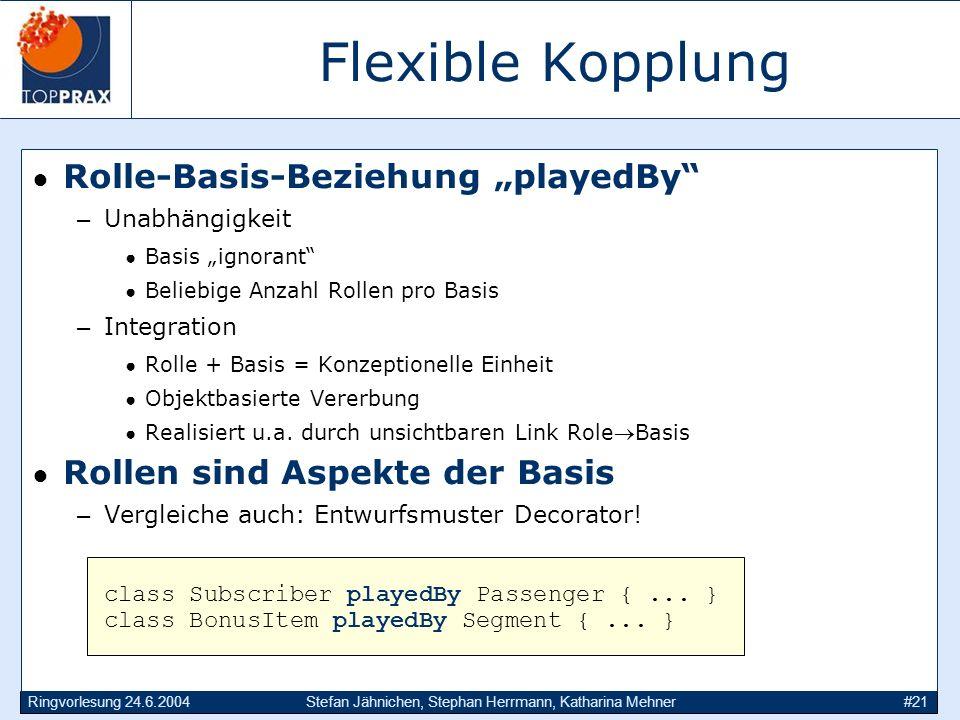 Ringvorlesung 24.6.2004Stefan Jähnichen, Stephan Herrmann, Katharina Mehner#21 Flexible Kopplung Rolle-Basis-Beziehung playedBy –Unabhängigkeit Basis