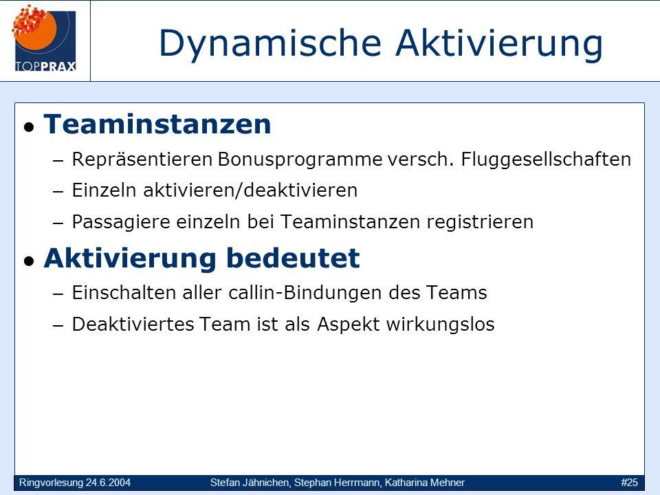 Ringvorlesung 24.6.2004Stefan Jähnichen, Stephan Herrmann, Katharina Mehner#25 Dynamische Aktivierung Teaminstanzen –Repräsentieren Bonusprogramme ver