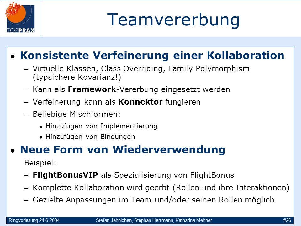 Ringvorlesung 24.6.2004Stefan Jähnichen, Stephan Herrmann, Katharina Mehner#26 Teamvererbung Konsistente Verfeinerung einer Kollaboration –Virtuelle K