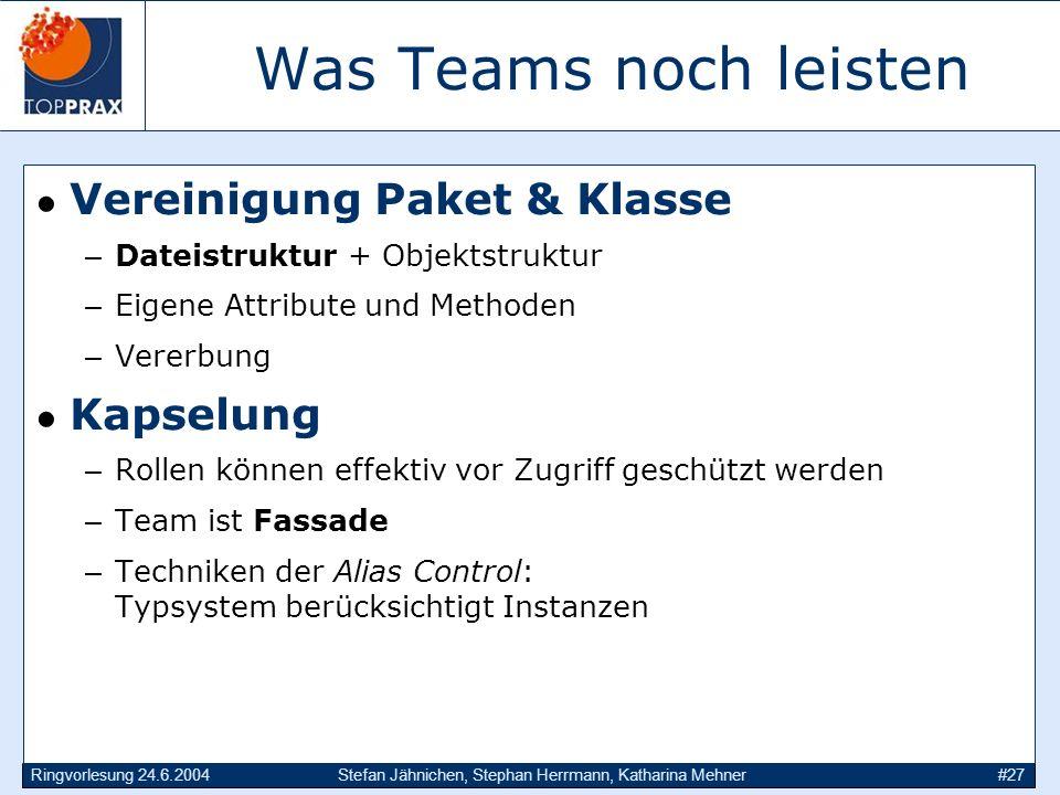 Ringvorlesung 24.6.2004Stefan Jähnichen, Stephan Herrmann, Katharina Mehner#27 Was Teams noch leisten Vereinigung Paket & Klasse –Dateistruktur + Obje