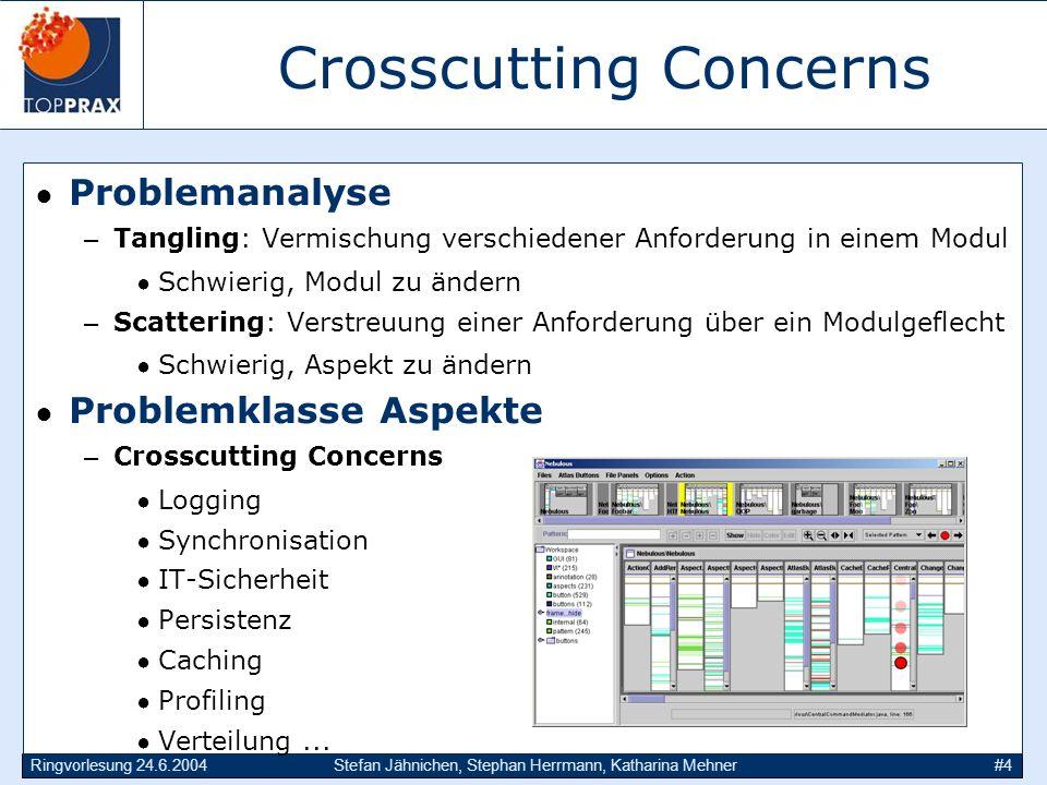 Ringvorlesung 24.6.2004Stefan Jähnichen, Stephan Herrmann, Katharina Mehner#4 Crosscutting Concerns Problemanalyse –Tangling: Vermischung verschiedene