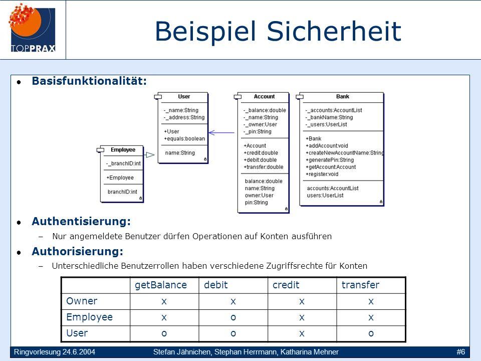 Ringvorlesung 24.6.2004Stefan Jähnichen, Stephan Herrmann, Katharina Mehner#6 Beispiel Sicherheit Basisfunktionalität: Authentisierung: –Nur angemelde