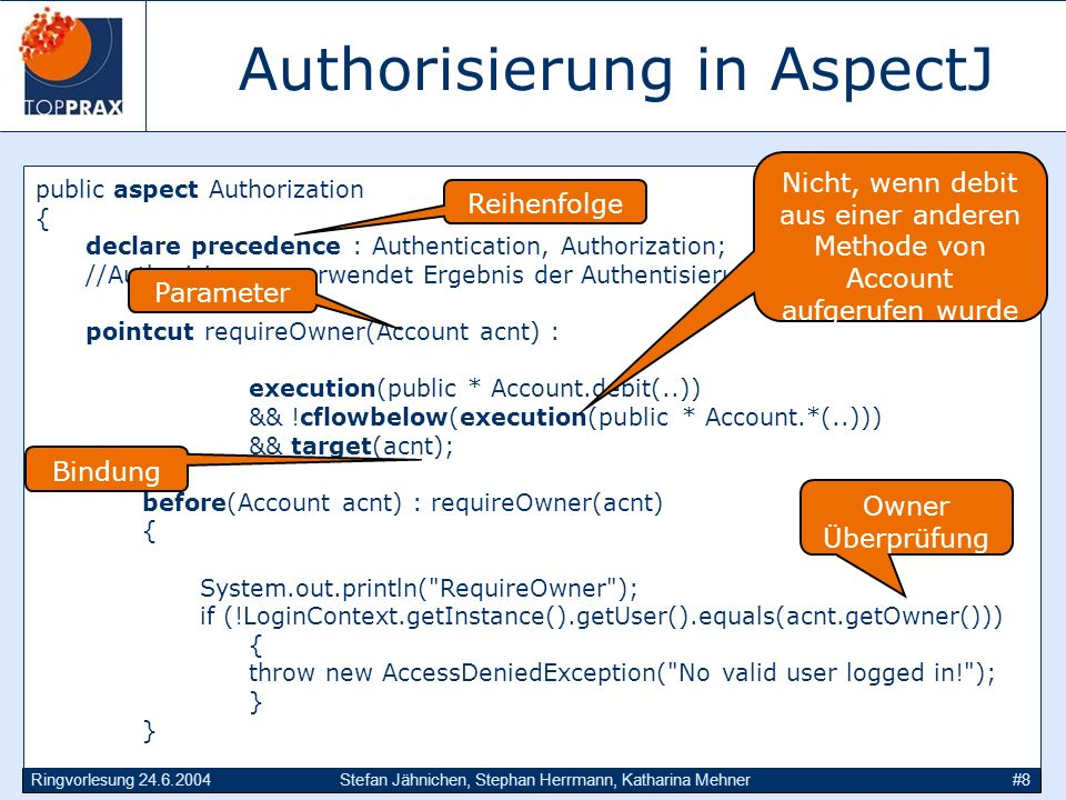 Ringvorlesung 24.6.2004Stefan Jähnichen, Stephan Herrmann, Katharina Mehner#8 Authorisierung in AspectJ public aspect Authorization { declare precedence : Authentication, Authorization; //Authorisierung verwendet Ergebnis der Authentisierung pointcut requireOwner(Account acnt) : execution(public * Account.debit(..)) && !cflowbelow(execution(public * Account.*(..))) && target(acnt); before(Account acnt) : requireOwner(acnt) { System.out.println( RequireOwner ); if (!LoginContext.getInstance().getUser().equals(acnt.getOwner())) { throw new AccessDeniedException( No valid user logged in! ); } Reihenfolge Nicht, wenn debit aus einer anderen Methode von Account aufgerufen wurde Parameter Owner Überprüfung Bindung