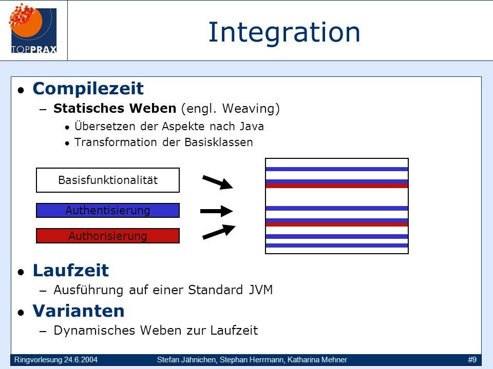 Ringvorlesung 24.6.2004Stefan Jähnichen, Stephan Herrmann, Katharina Mehner#9 Integration Compilezeit –Statisches Weben (engl. Weaving) Übersetzen der