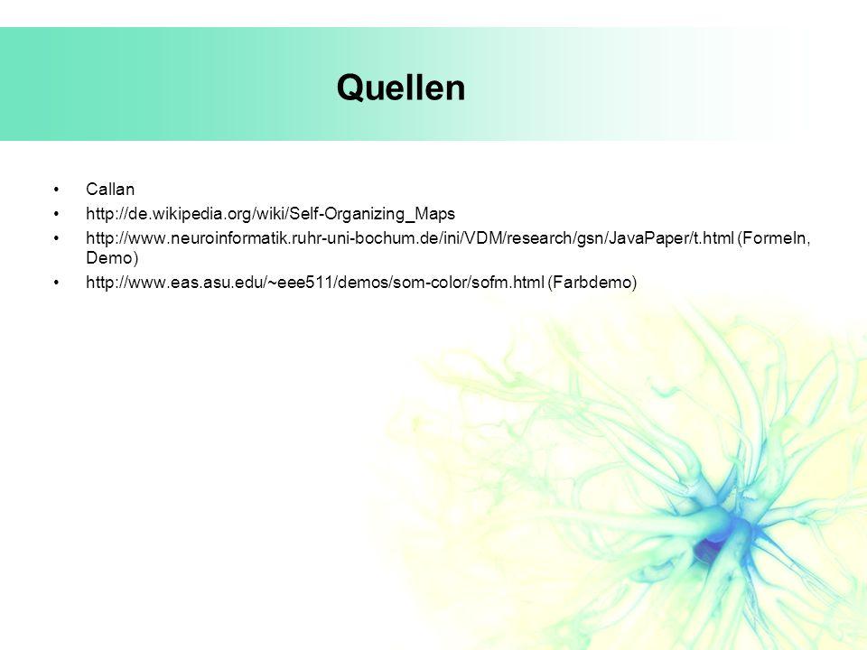 Quellen Callan http://de.wikipedia.org/wiki/Self-Organizing_Maps http://www.neuroinformatik.ruhr-uni-bochum.de/ini/VDM/research/gsn/JavaPaper/t.html (