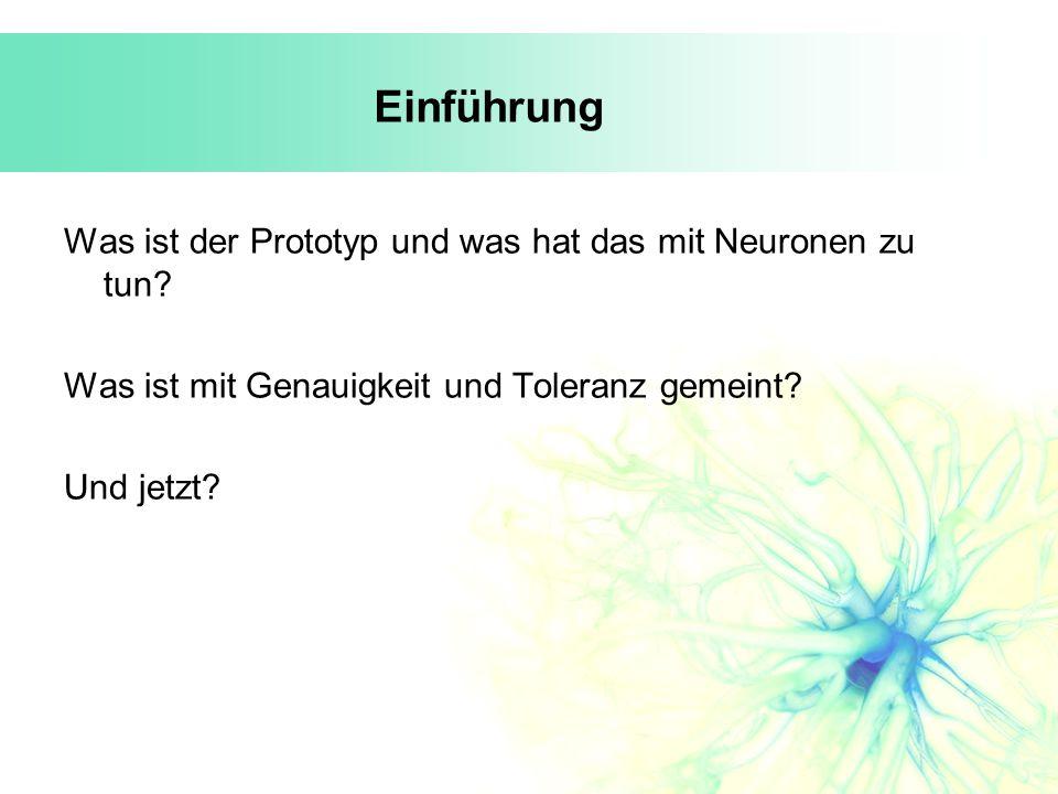 Einführung Was ist der Prototyp und was hat das mit Neuronen zu tun? Was ist mit Genauigkeit und Toleranz gemeint? Und jetzt?